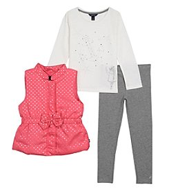 Nautica® Girls' 2T-6X 3 Piece Puffer Vest Top And Leggings Set