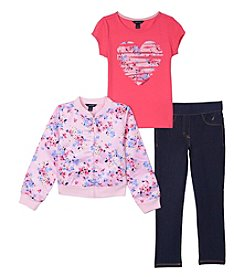 Nautica Girls' 2T-6 3 Piece Satin Bomber Jacket Top And Jeggings Set