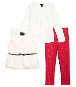 Nautica Girls' 2T-16 3 Piece Fur Vest Top And Jeggings Set