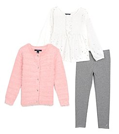 Nautica® Girls' 2T-6X 3 Piece Fuzzy Cardigan Top And Jeggings Set