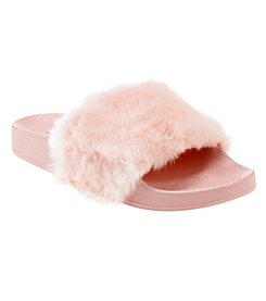 Steve Madden Girls Fur Slide Sandals