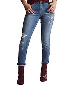 Earl Jean Floral Embroidery Distressed Detail Skinny Jeans