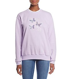 Morning Sun Butterfly Scroll Fleece Sweatshirt