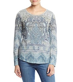 Oneworld Scoop Neck Paisley Print Top