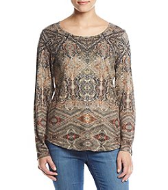Oneworld Long Sleeve Print Top