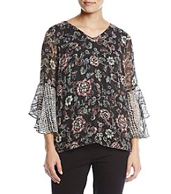 AGB Bell Sleeve Print Top