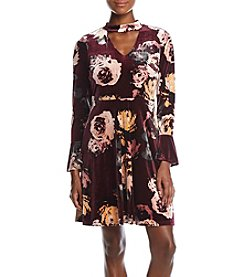 Ivanka Trump Floral Print Velvet Dress