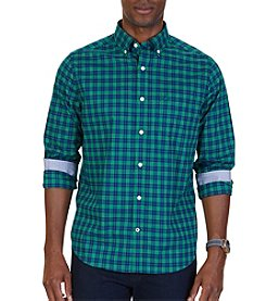 Nautica Men's Short Sleeve Poplin Plaid Button Down Shirt