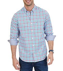 Nautica Men's Plaid Long Sleeve Button Down Shirt