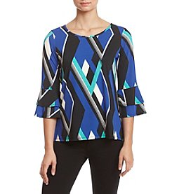 Studio Works High-Low Bell Sleeve Printed Top