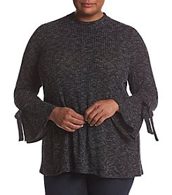 NY Collection Plus Size Marled Mock Neck Sweater