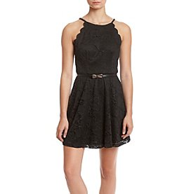 A. Byer Lace Scallop Fit And Flare Dress