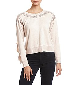 Sequin Hearts Embroidered Ruffle Sleeve Top