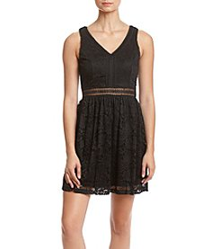 A. Byer Allover Lace Illusion Waist Dress
