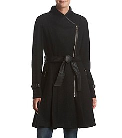GUESS Asymmetrical Zip Belted Coat