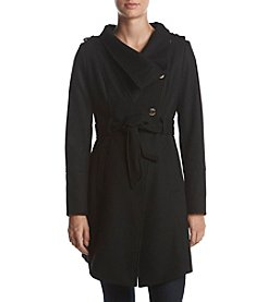 GUESS Asymmetrical Belt Exaggerated Collar Coat
