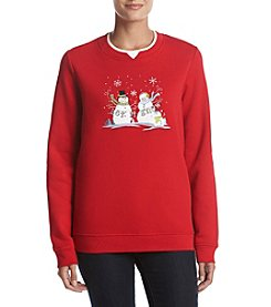 Breckenridge Petites' Fleece Snowman Graphic Crewneck Sweatshirt