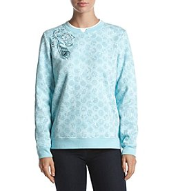 Breckenridge® Crew Neck Embellished Fleece Top