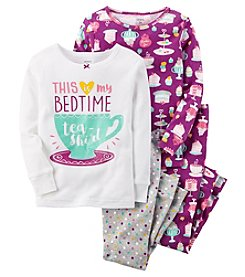 Carter's Girls' 12M-12 4 Piece Bedtime Tea Pajama Set