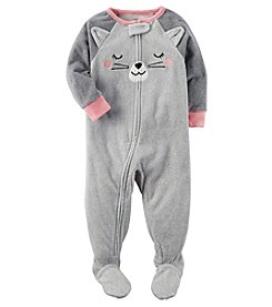 Carter's Girls' 12M-4T Cat Face Fleece Pajamas