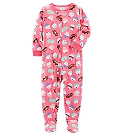Carter's Girls' 12M-14 One Piece Cupcakes Fleece Pajamas