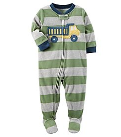 Carter's Boys' 12M-8 One Piece Striped Truck Fleece Pajamas