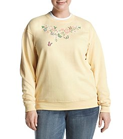 Breckenridge Plus Size Butterfly Corsage Sweatshirt
