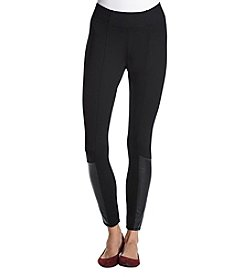 Jones New York Faux Leather Accent Leggings