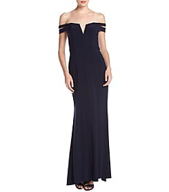 Xscape Off The Shoulder V-Neck Gown
