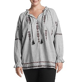 Ruff Hewn Plus Size Foral Embroidery Peasant Top