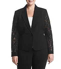 Nine West Plus Size Lace Panel Jacket