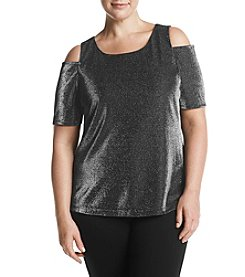 Nine West Plus Size Sparkle Cold Shoulder Knit Top