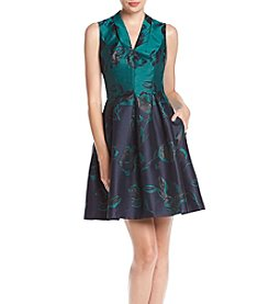Vince Camuto Funnel V-Neck Fit And Flare Floral Print Dress