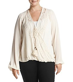Skylar & Jade by Taylor & Sage Plus Size Surplice Lace Detail Top