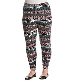 Pink Rose Plus Size Tribal Snow Hacci Legging