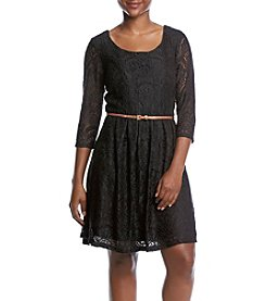 Studio Works Petites' Lace Dress With Belt