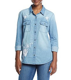 Ruff Hewn Petites' Embroidered Denim Button Front