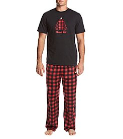 KN Karen Neuburger Men's Checked Fleece Pajama Set