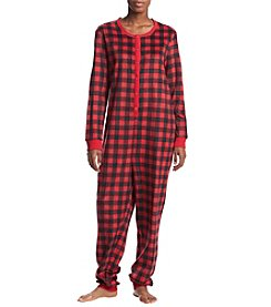 KN Karen Neuburger Printed Fleece One-Piece Pajamas Suit