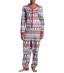 KN Karen Neuburger Fleece Arctic Pattern One Piece Pajamas