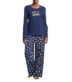KN Karen Neuburger Let It Glow Knit Combo Pajamas
