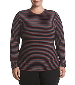 Cuddl Duds Plus Size Vertical Striped Crewneck Tee