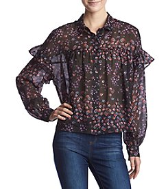 Hippie Laundry Floral Ruffle Button Up Top