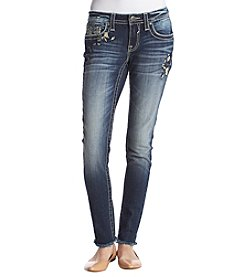 Vigoss Embroidered Fray Hem Skinny Jeans