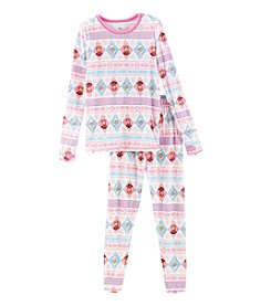 Cuddl Duds Girls' 4-12 Frozen Long Sleeve Top And Leggings Pajama Set