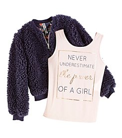 Beautees Girls' 7-16 Jacket And Girl Power Tank Set