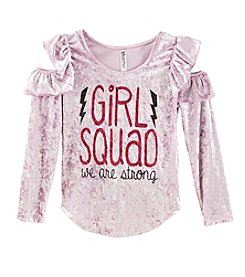 Beautees Girls' 7-16 Long Sleeve Ruffle Girl Squad Top