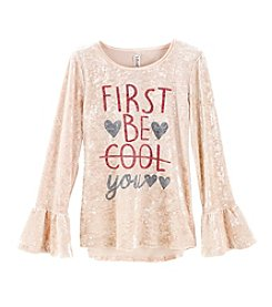 Beautees Girls' 7-16 Long Sleeve Be Cool Top And Choker