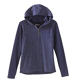 Distortion Boys' 8-20 Long Sleeve Striped Henley Hoodie