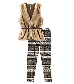 Beautees Girls' 7-16 Faux Fur Vest And Leggings Set